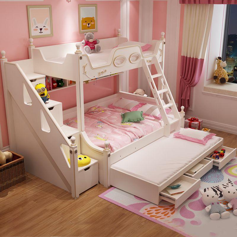 Giường tầng công chúa đa năng màu trắng GTE084