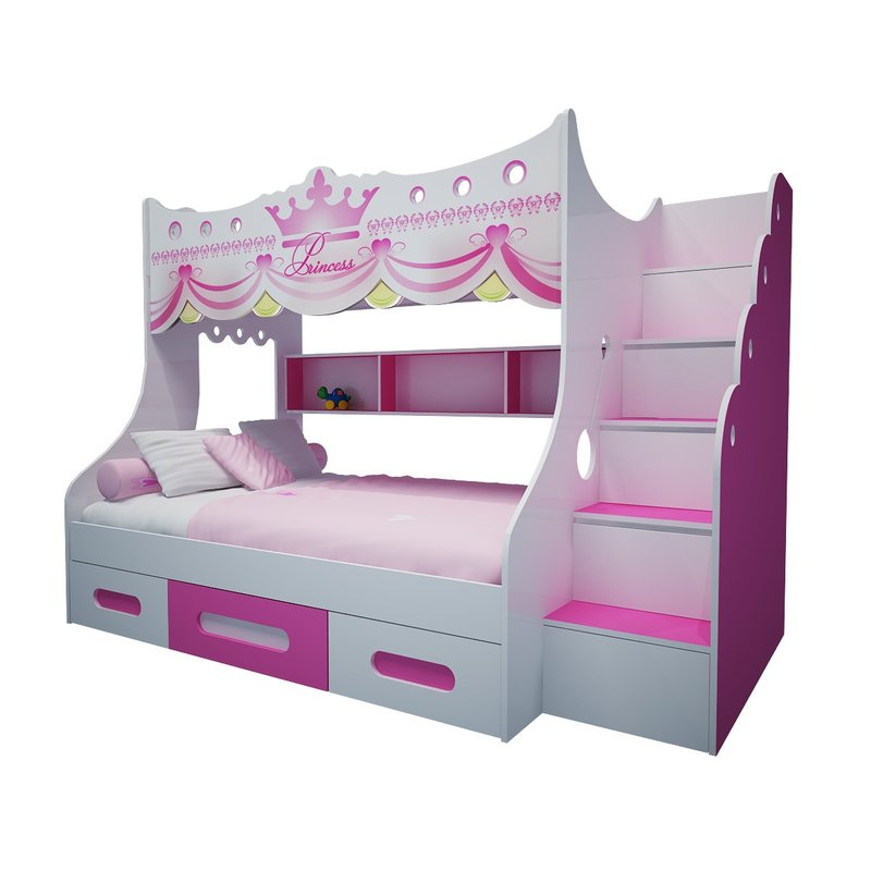 Giường tầng cho bé kiểu dáng công chúa màu hồng GTE105 1
