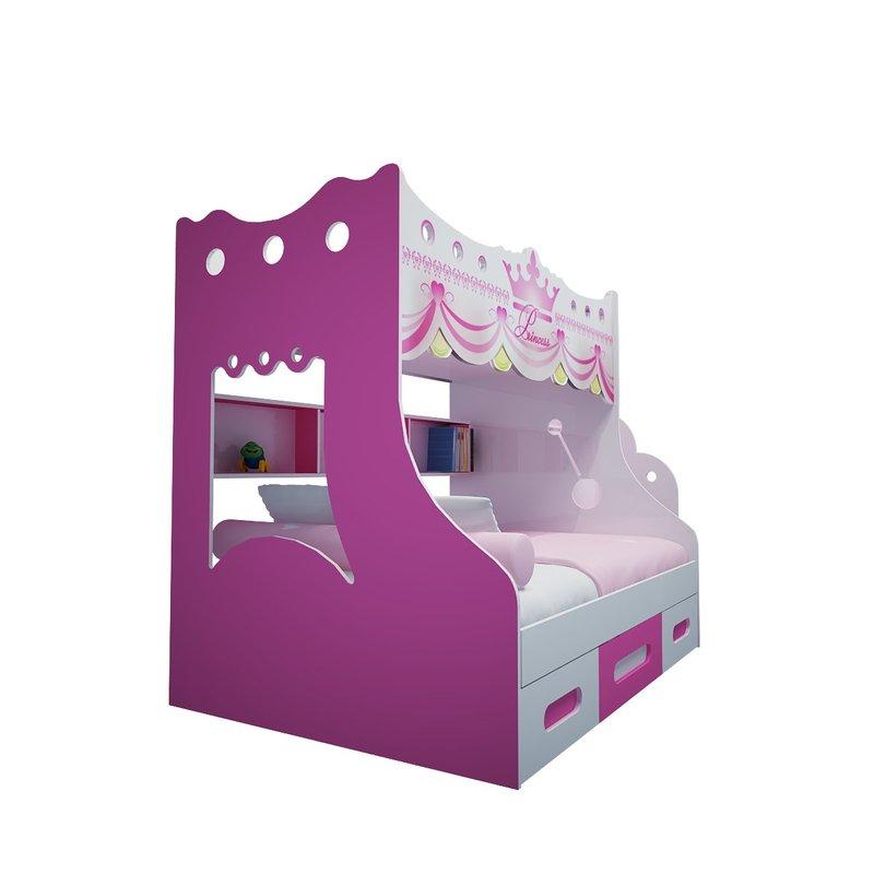 Giường tầng cho bé kiểu dáng công chúa màu hồng GTE105 2