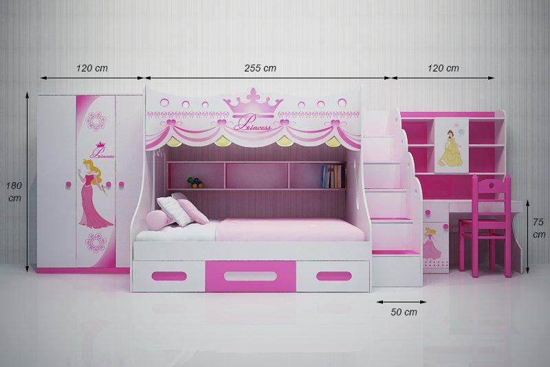 Bộ nội thất Giường tầng cho bé kiểu dáng công chúa màu hồng GTE105 4