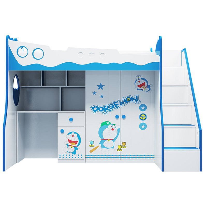 Giường 2 tầng kèm bàn học + tủ quần áo ván in hình Doremon GTE104