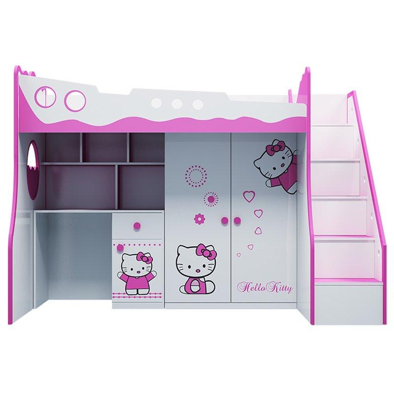 Bộ giường tầng bé gái màu hồng dễ thương GTE106