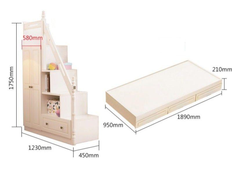 Kích thước Giường tầng thông minh màu trắng GTE085 2