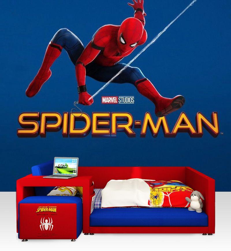 Giường trẻ em kiểu dáng người nhện đẹp GTE100 kiểu 1 dành cho bé trai