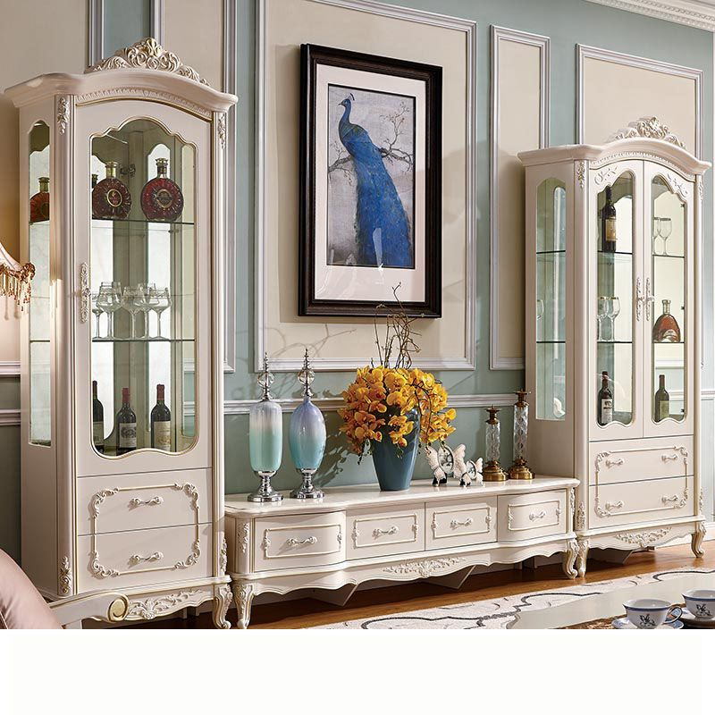 Tủ rượu + kệ tivi gỗ phong cách tân cổ điển châu âu TR002