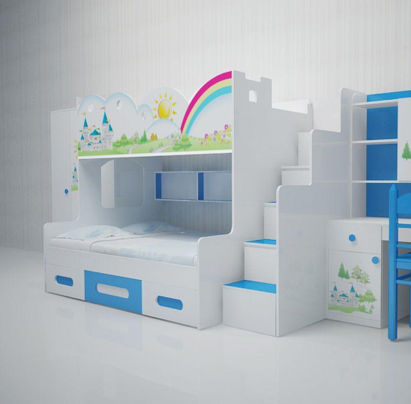 Giường tầng trẻ em hình kiểu dáng cầu vồng tuổi thơ GTE108