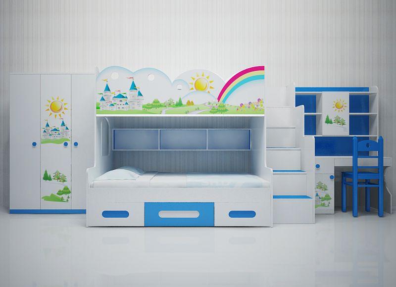 Giường tầng trẻ em hình kiểu dáng cầu vồng tuổi thơ GTE108 2