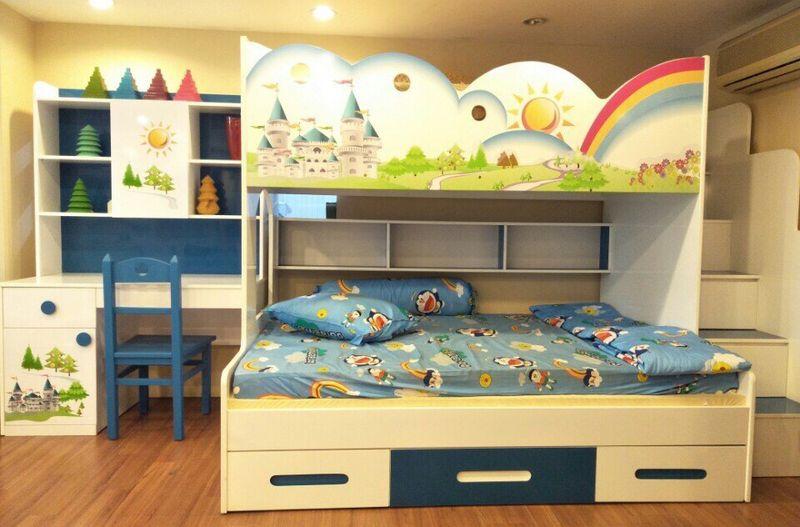 Giường tầng trẻ em hình kiểu dáng cầu vồng tuổi thơ GTE108 4