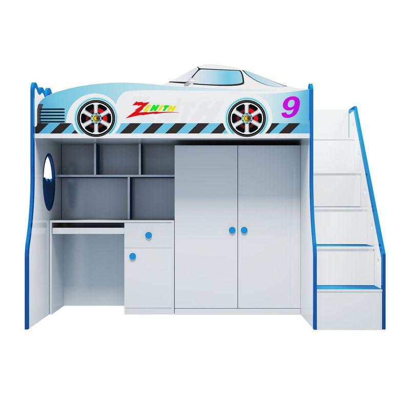 Combo giường tầng kiểu dáng ô tô cho bé trai GTE107 có bàn học + tủ quần áo