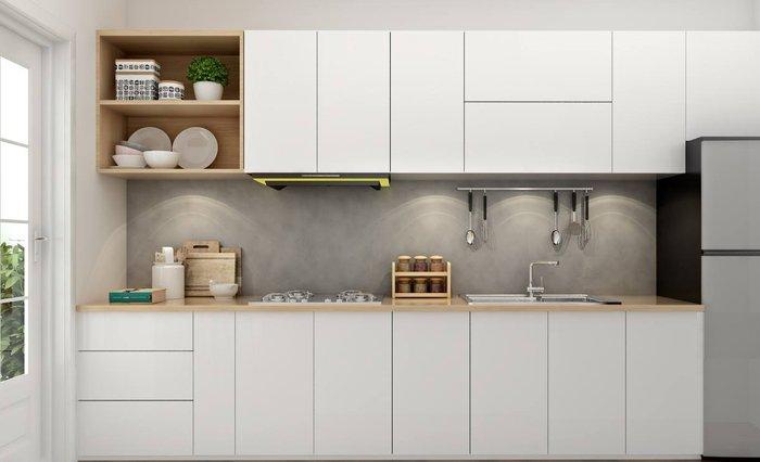 Tủ bếp làm bằng gỗ công nghiệp phủ melamin