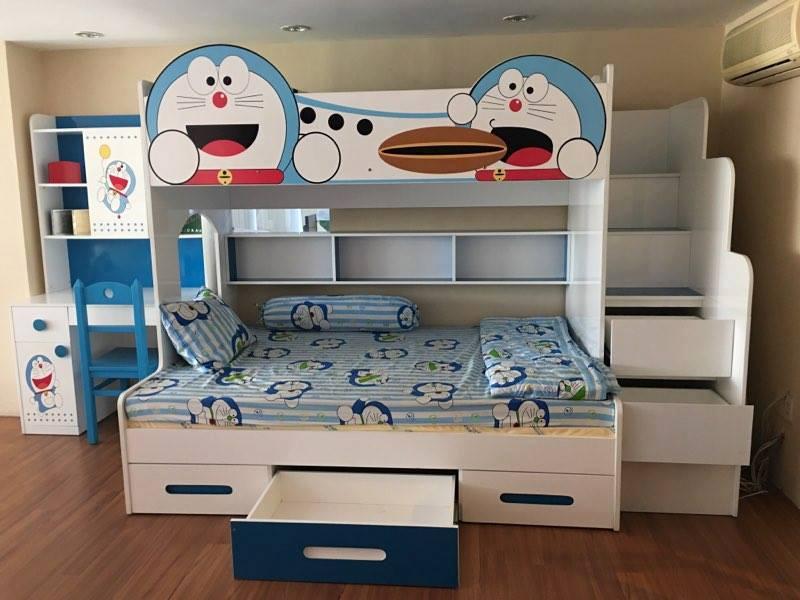 Giường 2 tầng thấp in hình Doremon dễ thương GTE109