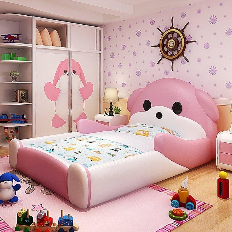 Giường cho bé hình chú chó dễ thương GTE117 màu hồng