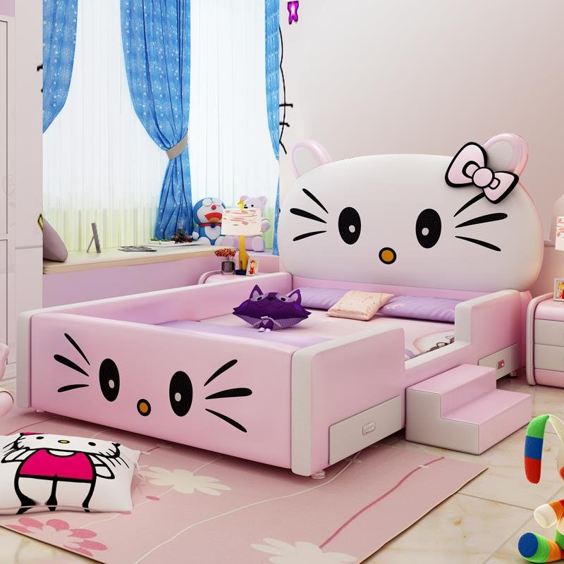 Giường ngủ hello kitty cho bé gái có cầu thang mini GTE118 màu hồng nhạt