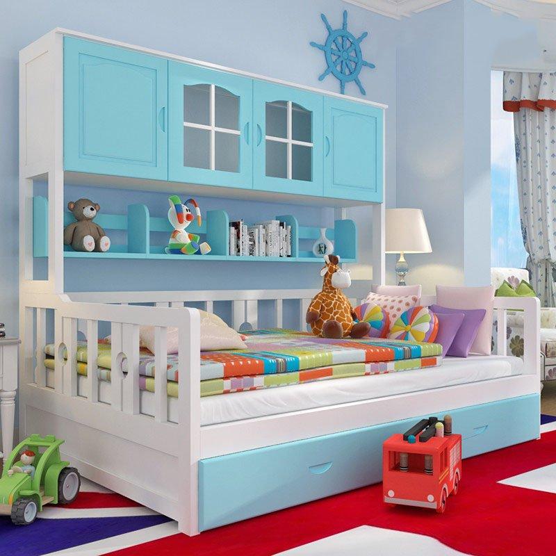 Giường kết hợp tủ đồ, giá sách trẻ em GTE075