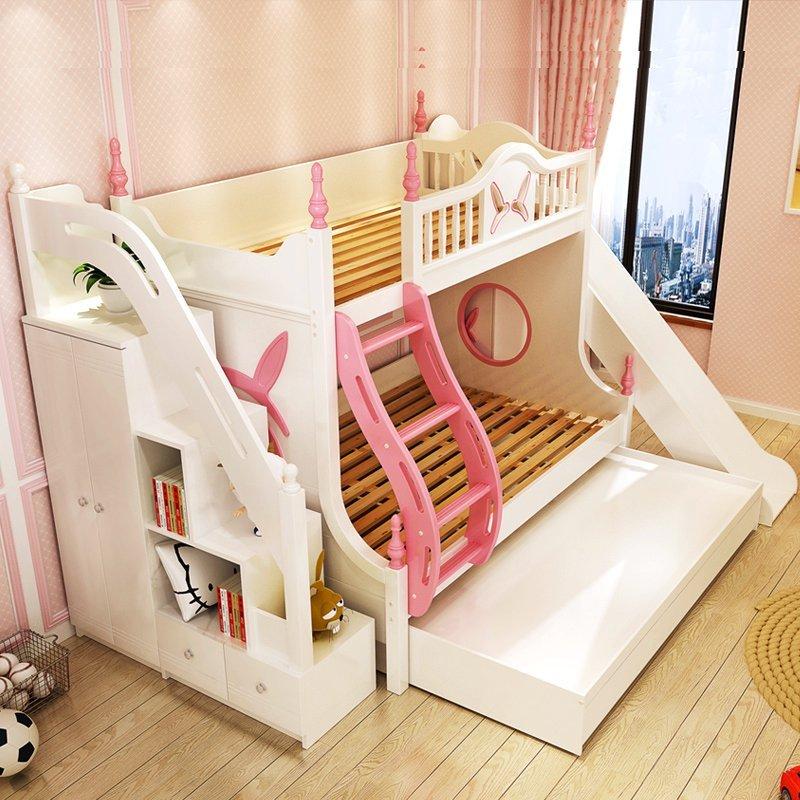 Mẫu Giường tầng cho bé gái thiết kế đẹp GTE083 màu trắng có cầu trượt + cầu thang hộp kết hợp tủ quần áo