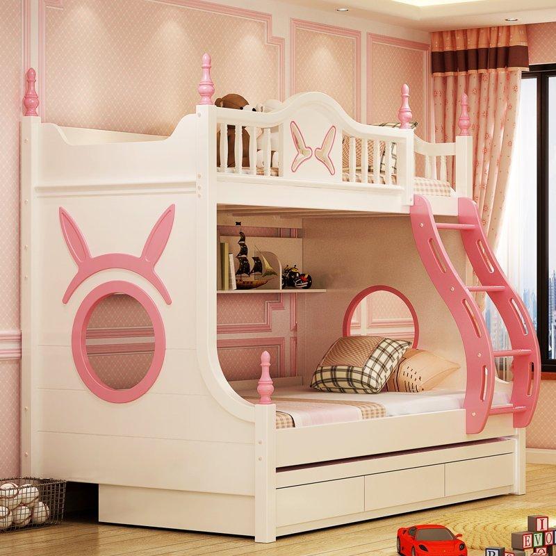 Mẫu Giường tầng cho bé gái thiết kế đẹp GTE083 màu trắng