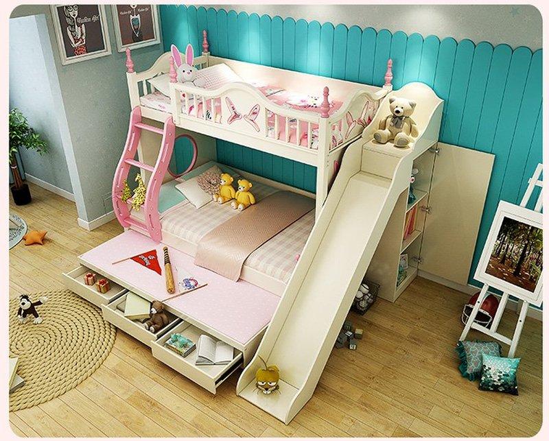 Mẫu Giường tầng cho bé gái thiết kế đẹp GTE083 màu trắng có cầu trượt
