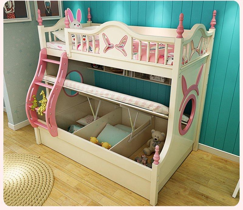 Mẫu Giường tầng cho bé gái thiết kế đẹp GTE083 màu trắng có dát giường đa năng