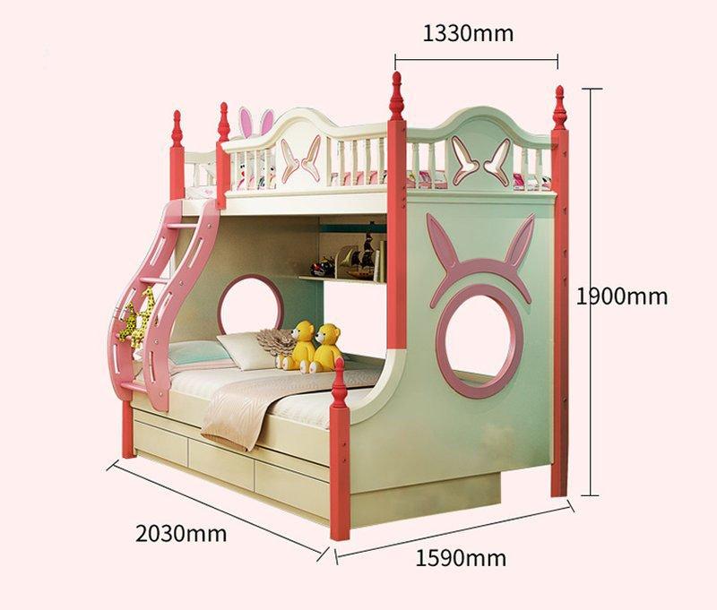 Kích cỡ Mẫu Giường tầng cho bé gái thiết kế đẹp GTE083 màu trắng