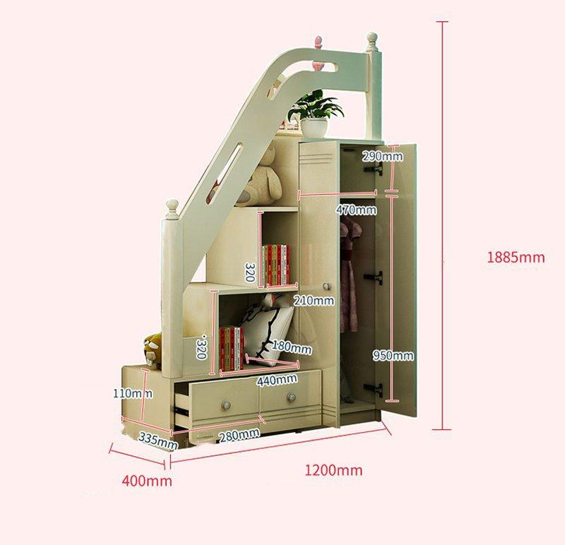 Kích cỡ Mẫu Giường tầng cho bé gái thiết kế đẹp GTE083 màu trắng 3