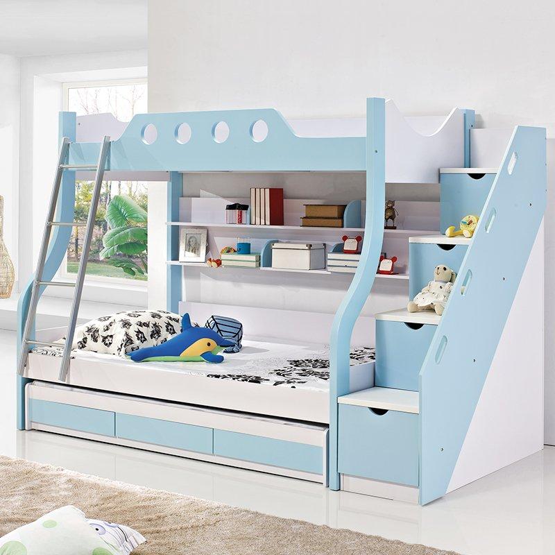 giường tầng cho bé có ngăn kéo GTER074 màu xanh dương