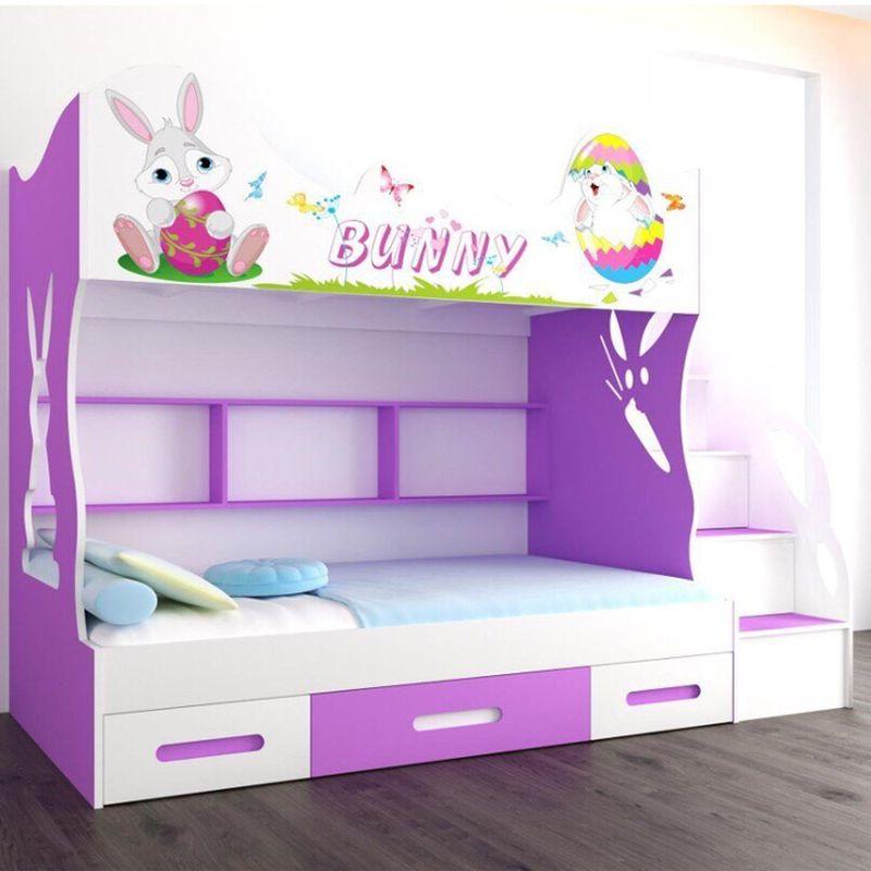 Giường tầng cho bé gái in hình chú thỏ Bunnny dễ thương GTE111