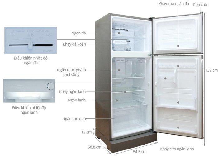 Kích thước tủ lạnh Sharp 196l