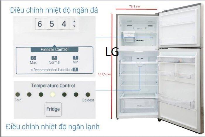 Kích thước tủ lạnh LG 393l