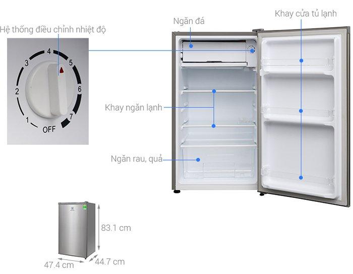 Kích thước tủ lạnh hãng Electrolux (92l)
