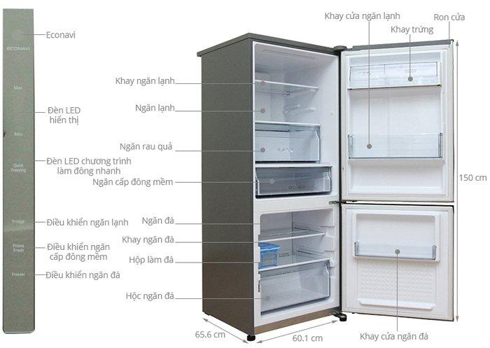 Kích thước tủ lạnh panasonic 255l