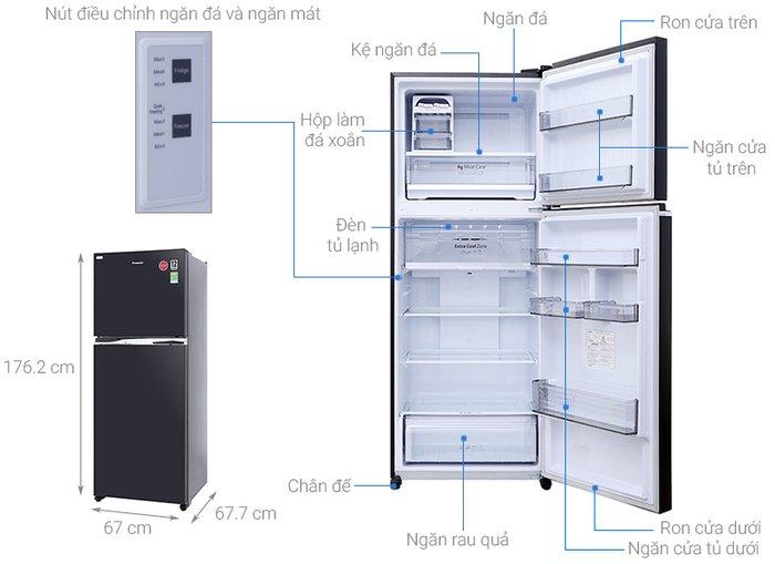 Kích thước tủ lạnh panasonic 405l