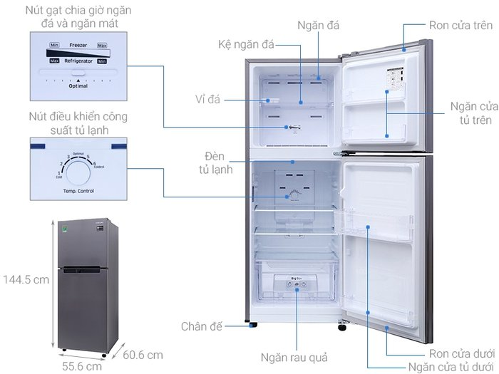 Kích thước tủ lạnh Samsung 208l