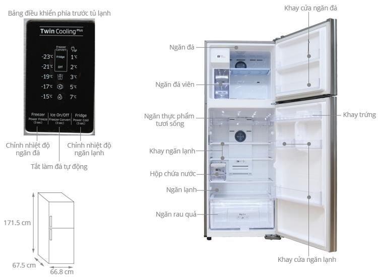 Kích thước tủ lạnh Samsung 380l