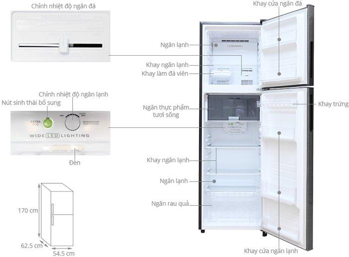 Kích thước tủ lạnh sharp 271l