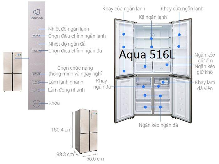 Kích thước tủ lạnh hãng side by side Aqua Inverter 516l: