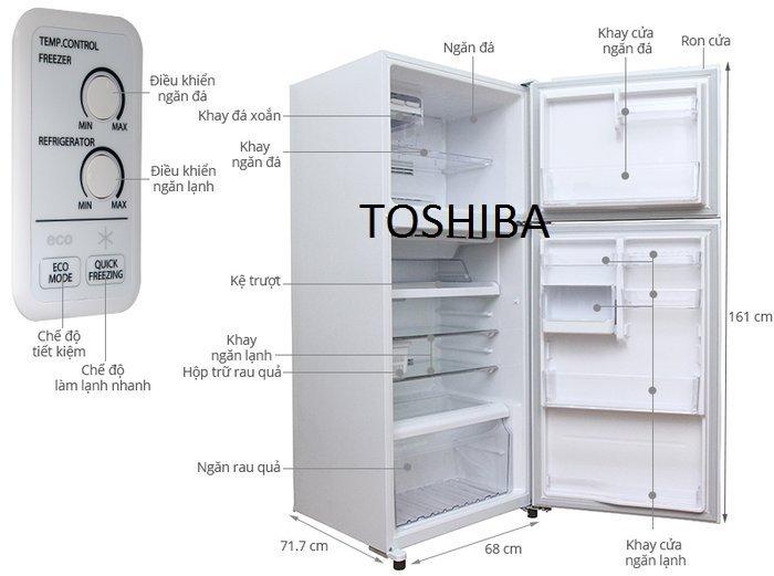 Kích thước tủ lạnh TOSHIBA 359l