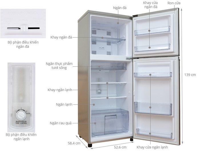 Kích thước tủ lạnh Panasonic 188l