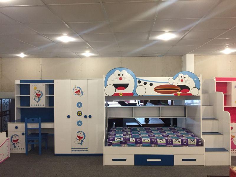 Trọn bộ nội thất giường tầng + tủ quần áo + bàn học in hình Doremon NTTE109