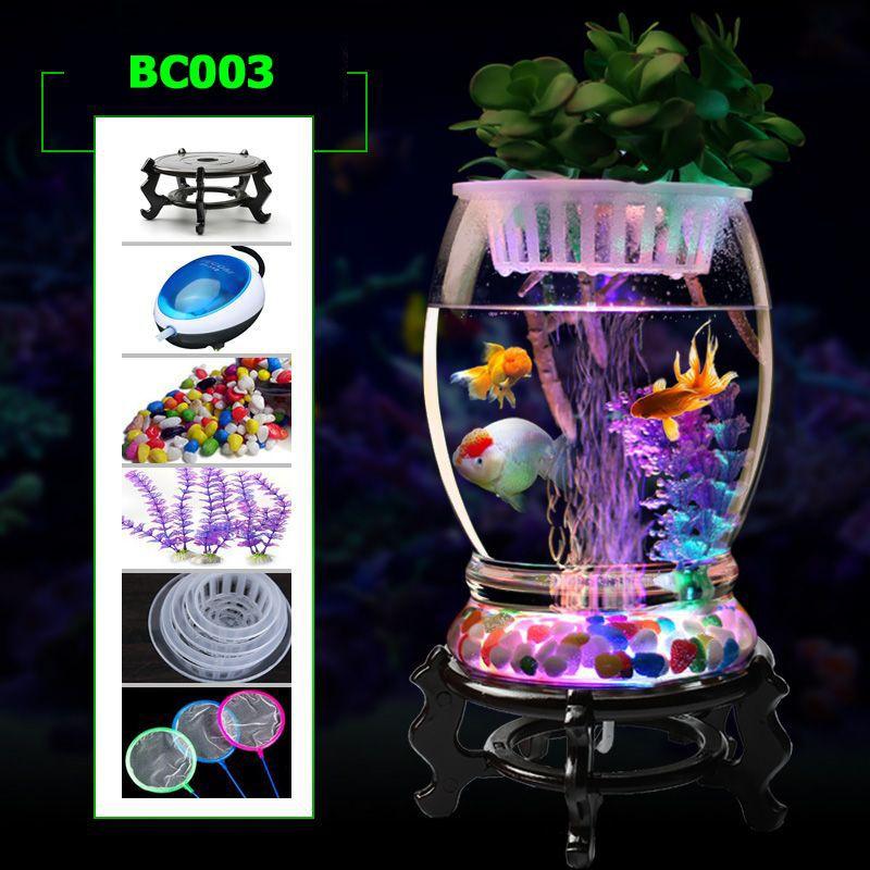 Bể cá cảnh mini văn phòng để bàn BC003 có đèn led phát sáng