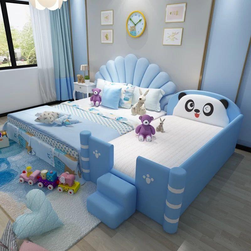 Giường ngủ dễ thương hình gấu trúc GTE120 màu xanh nước biển