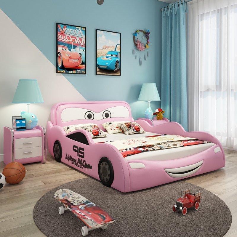 Giường ngủ ô tô hoạt hình tia chớp MCQUEEN màu hồng