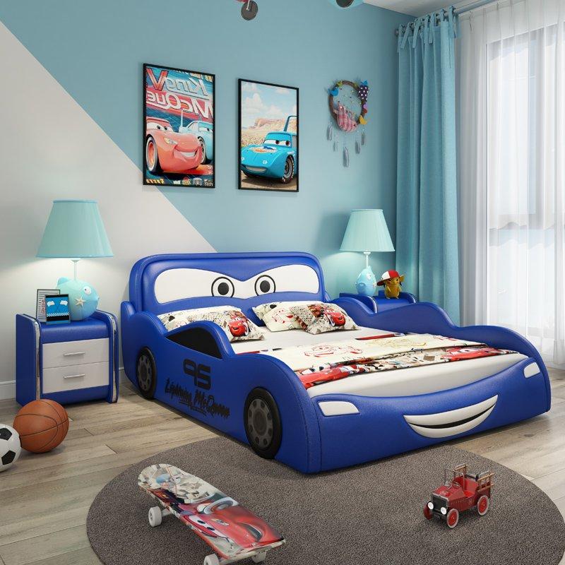 Giường ngủ ô tô hoạt hình tia chớp MCQUEEN màu xanh da trời