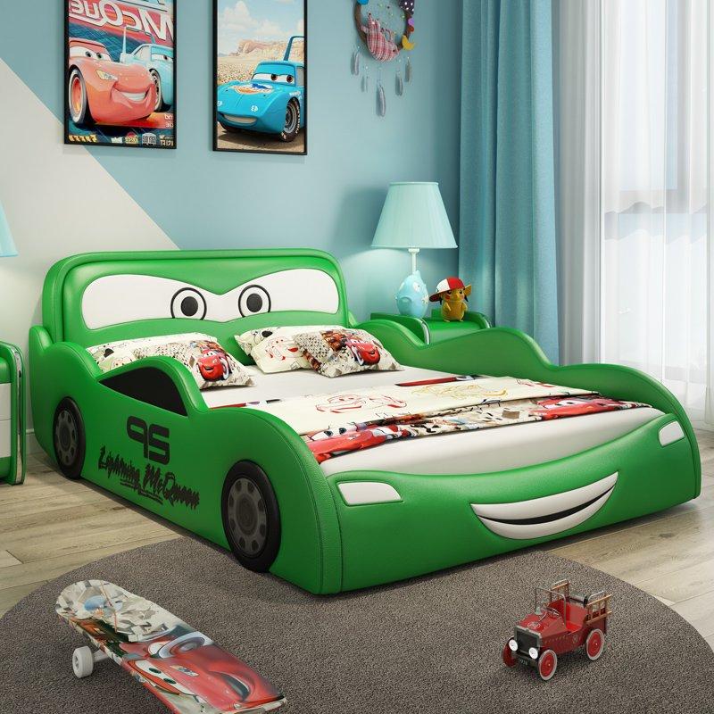 Giường ngủ ô tô hoạt hình tia chớp MCQUEEN màu xanh lá cây