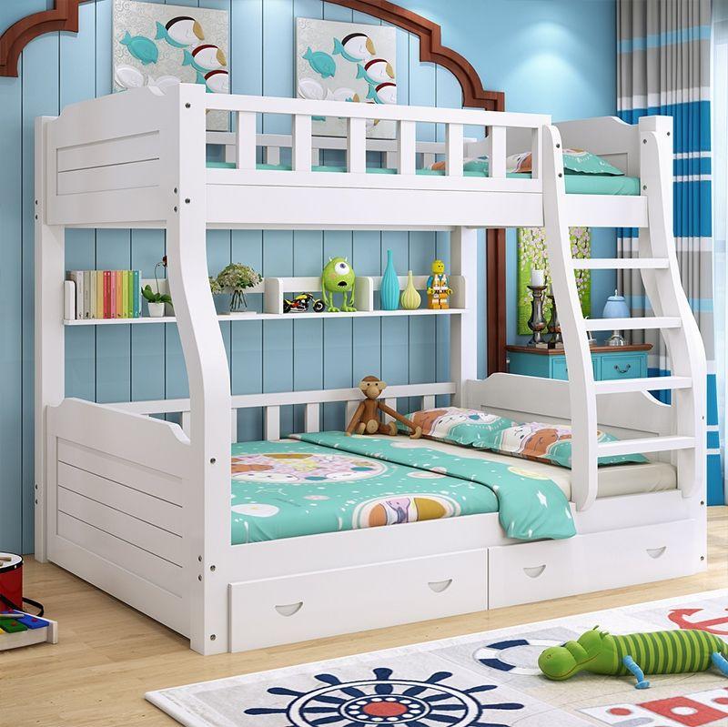 Giường tầng trẻ em có ngăn kéo GTE077 màu trắng