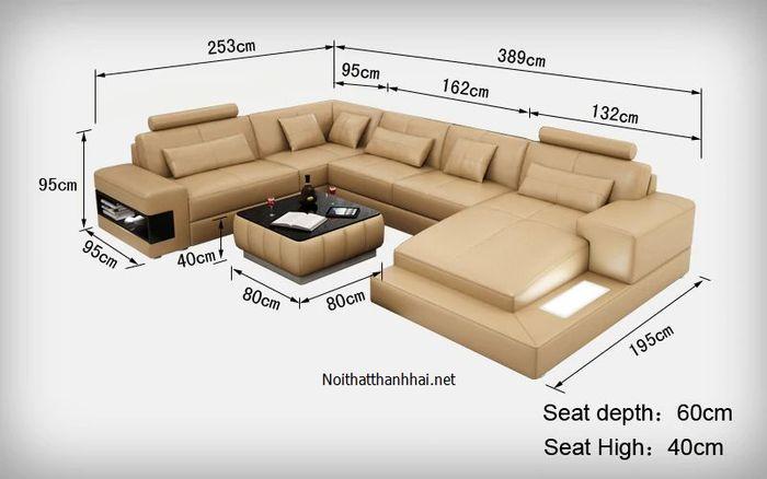 Kích thước sofa phòng khách, sofa đơn, đôi, chữ L, chữ U