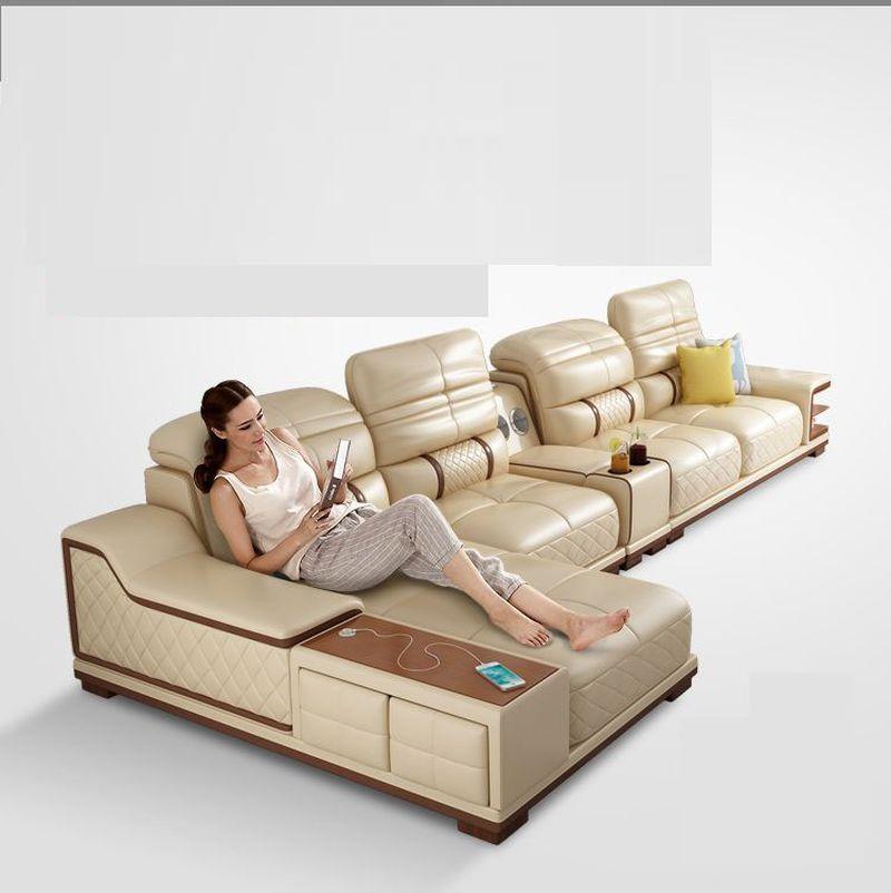 Bàn ghế sofa hiện đại bọc da góc chữ L SF005 màu kem