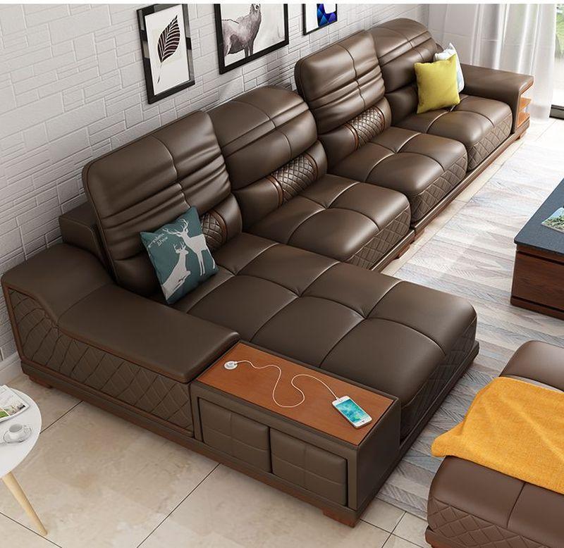 Bàn ghế sofa hiện đại bọc da góc chữ L SF005 màu đen nhạt