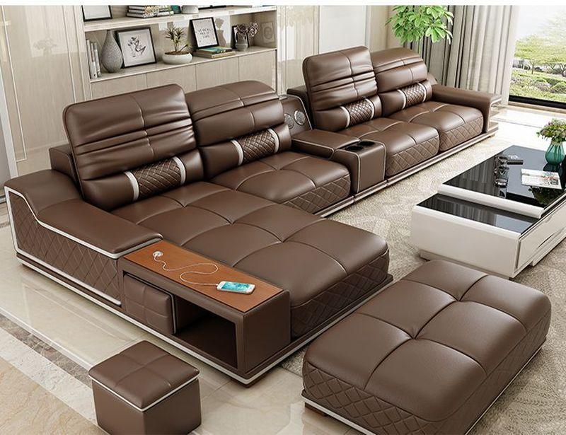 Bàn ghế sofa hiện đại bọc da góc chữ L SF005 màu nâu