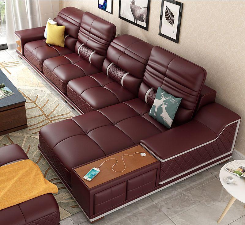 Bàn ghế sofa hiện đại bọc da góc chữ L SF005 màu mận chín