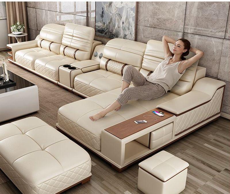 Bàn ghế sofa hiện đại bọc da góc chữ L SF005 màu becge